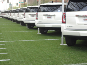 An 'ordinary' street in Phoenix, turned into a promo parking lot by Grand Motors. Photo made by the author