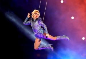 Lady Gaga hovering above the stadium. Photo: usamagazine.com