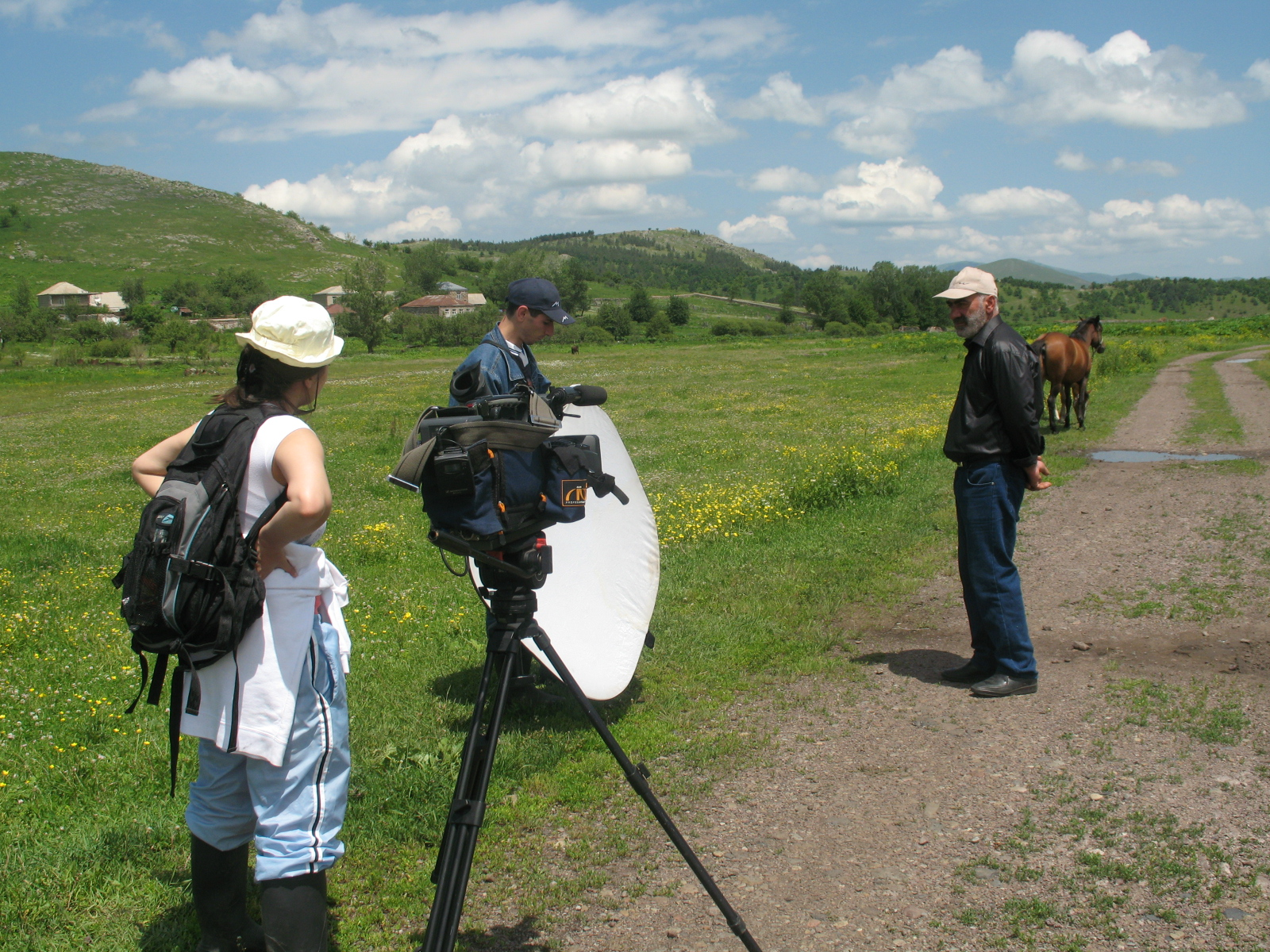 Filming 'From Home to Home' in Dzyunashogh, Armenia, 2008. Screenplay author Seda Muradyan and co-director Arsen Gasparyan. From Seda Muradyan's archive. Documentary films about the Karabakh war