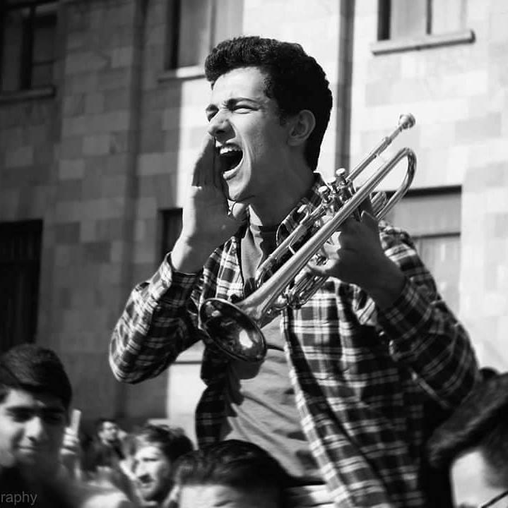 Photo from Aleksandr Harutyunyan's social media page. Songs and slogans of the Armenian revolution