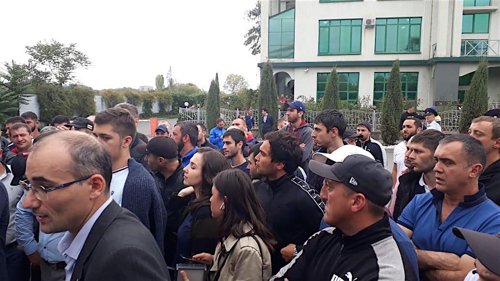 People gathered on the streets of South Ossetia