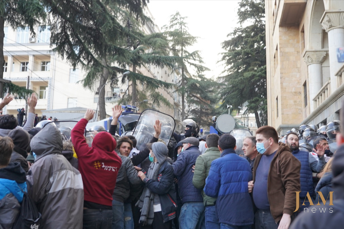 Georgia - Tbilisi parliament protest dispersal