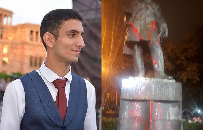 Garegin Nzhdeh, Alexander Griboyedov, vandalism, monument, nationalist, Shahen Harutyunyan, son of Shant Artyunyan, nationalist movement, shop workshop