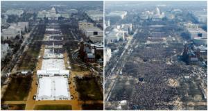 Слева - количество людей, которые пришли участвовать на инаугурацию нового президента США Дональда Трампа 20 января 2017 года. Справа - кто участвовал в инаугурации президента Барака Обамы 20 января 2009 года.