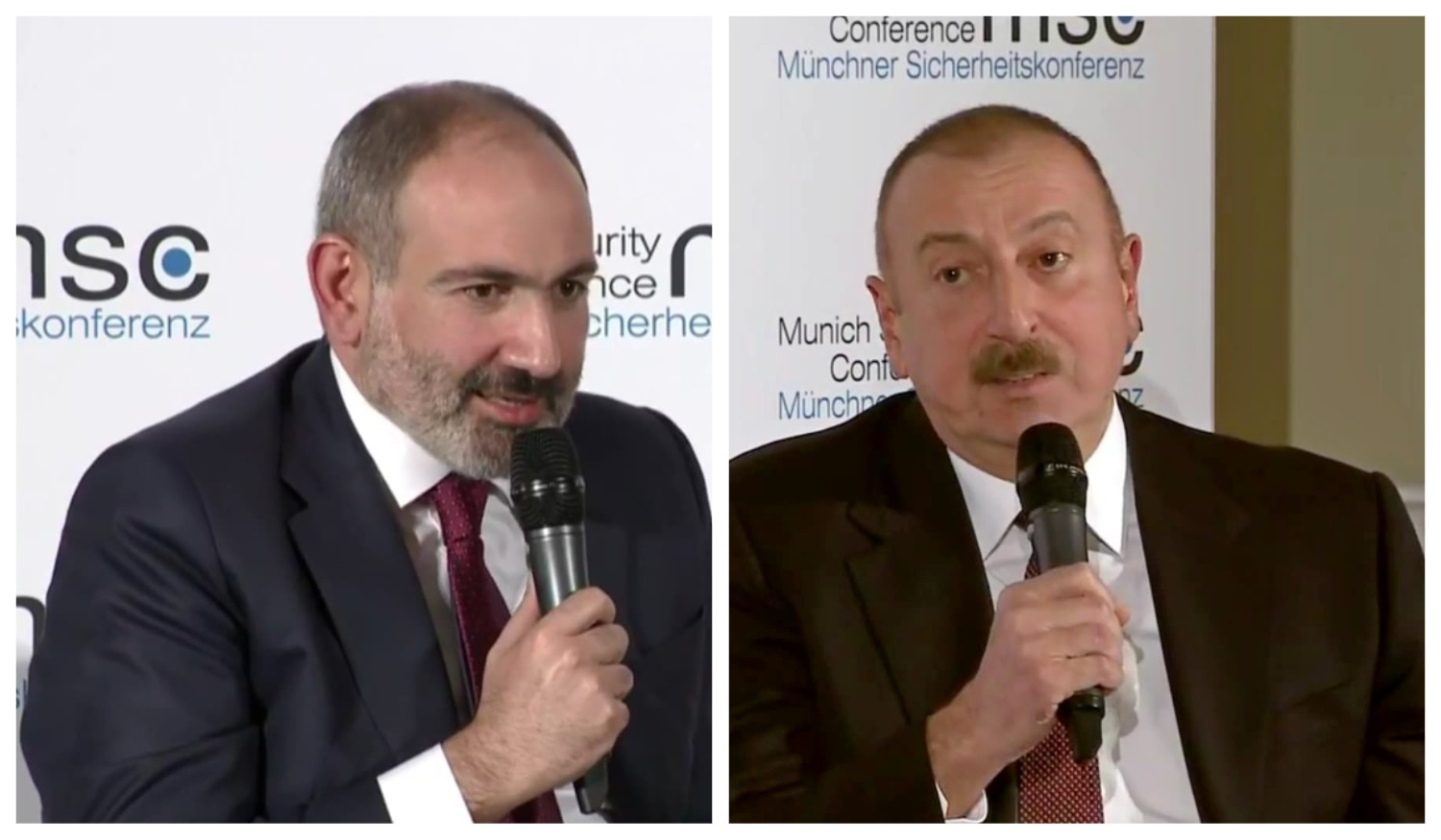 Nikol Pashinyan and Ilham Aliyev at the Munich conference, 15 February 2020