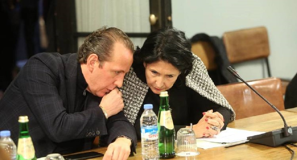 სალომე ზურაბიშვილი და მისი საპარლამენტო მდივანი დიმიტრი გაბუნია Саломе Зурабишвили и парламентский секретарь президента Дмитрий Габуния