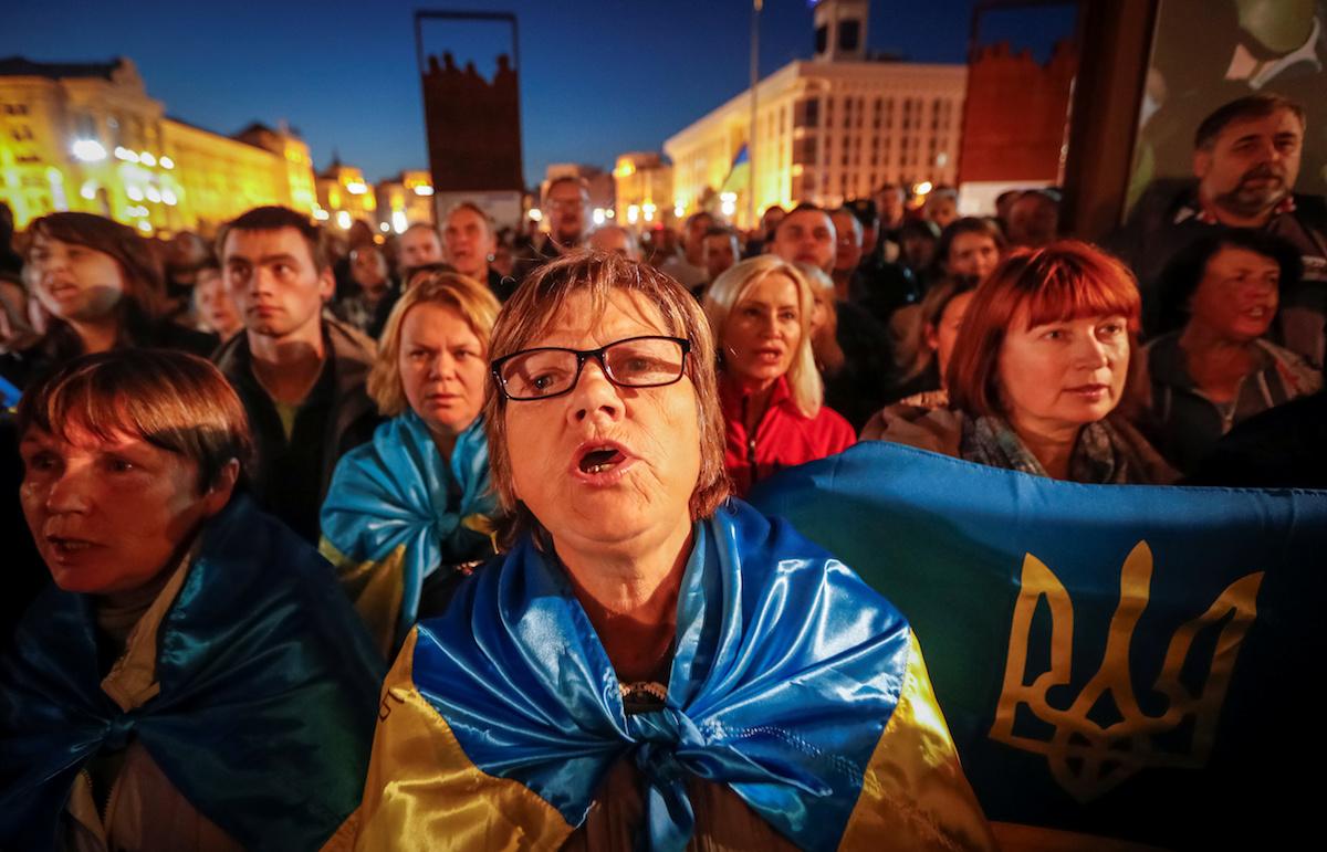 """Акция протеста против """"Формулы Штайнмайера"""", Киев,2 октября"""