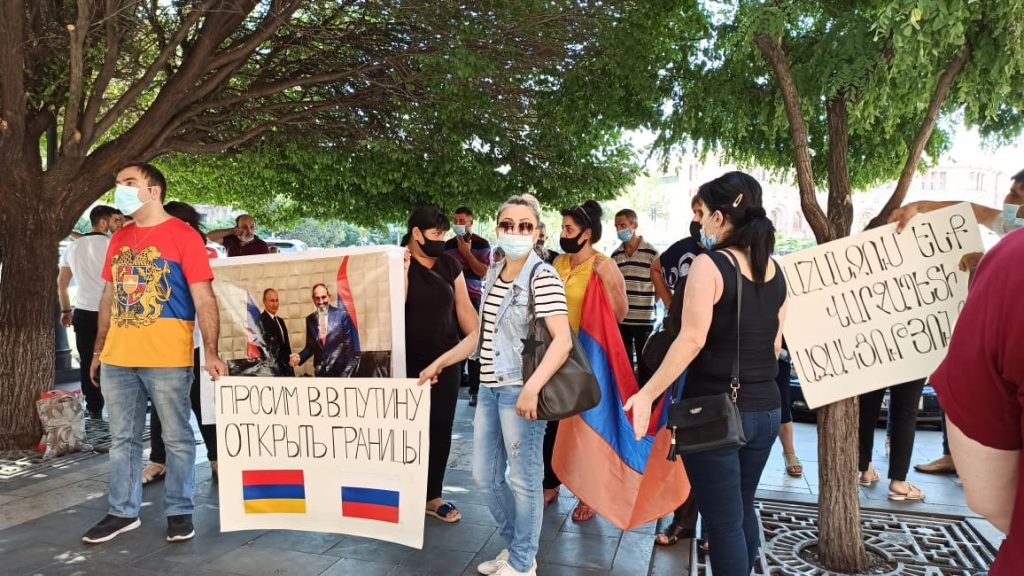 hunger strike Armenia protest action I want to go to Russia
