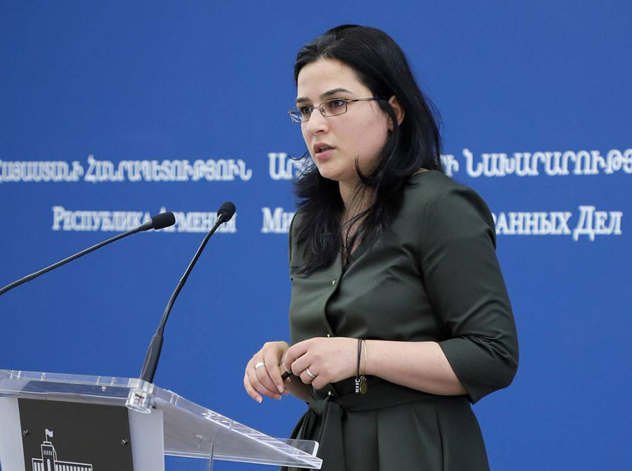Armenian foreign policy priorities, spokesman for the foreign ministry, Anna Naghdalyan, position of the Armenian foreign ministry, settling the Karabakh conflict, prisoner exchange with Azerbaijan, cooperation with Russia,