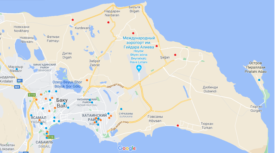 Water problems in Baku map