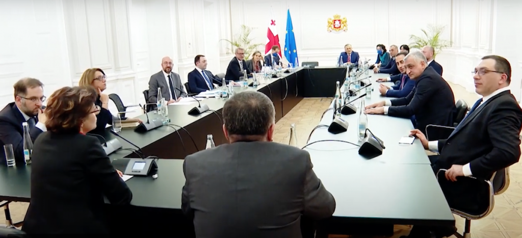 Negotiations between the Georgian authorities and the opposition mediated by the head of the European Council Jean Michel. March 1, 2021