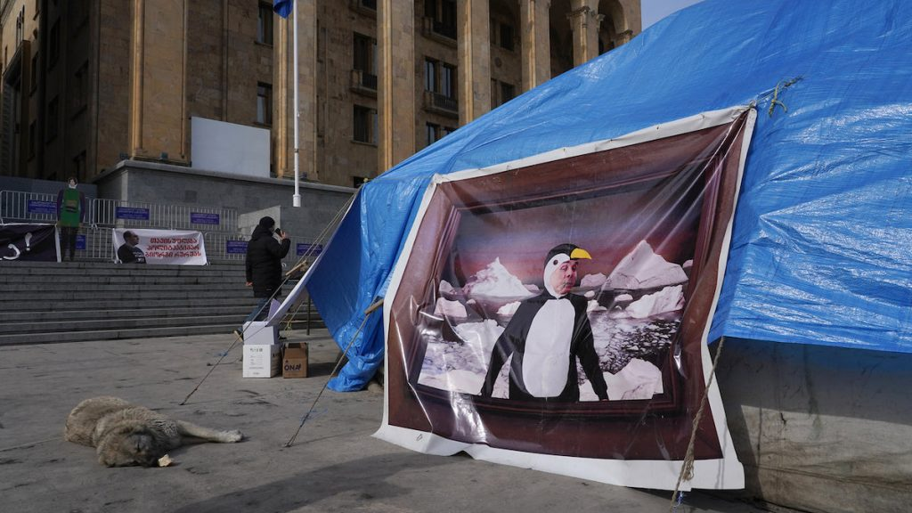 Caricature of the oligarch Bidzina Ivanishvili in the tent camp of protesters in front of the Georgian parliament. March 2021 Photo: Dvid Pipia, JAMnews