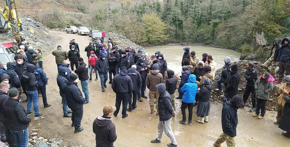 Population protest against the construction of the Namakhvan hydroelectric power station in Georgia
