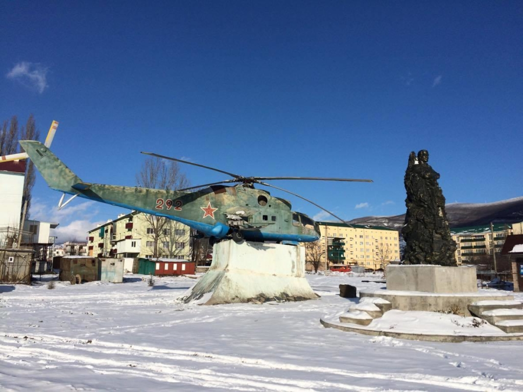 Helicopter, South Ossetia. The Soviet symbols still present in the Caucasus