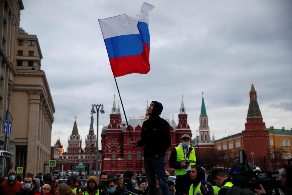 ალექსეი ნავალნის მხარდამჭერი აქცია მოსკოვში. 21 აპრილი, 2021. REUTERS/Shamil Zhumatov
