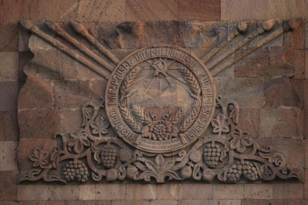 Soviet emblem at the railway station. photo: Gevorg Kazaryan. The Soviet symbols still present in the Caucasus