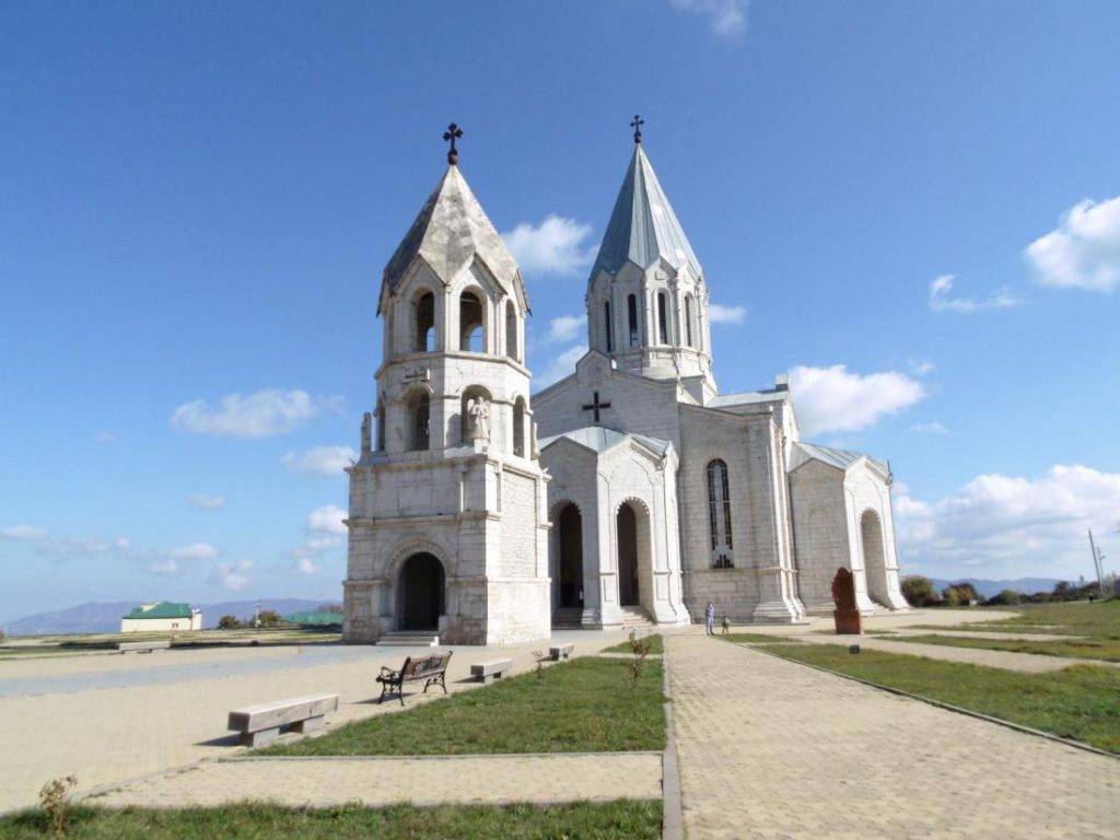 photos of Shusha Cathedral Kazanchetsots without domes More about this source textSource text required for additional translation information