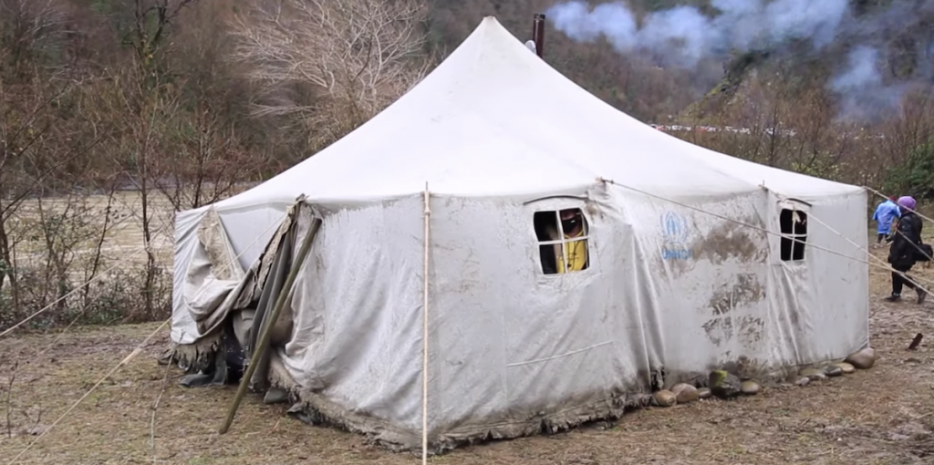 Tent of activists in the village of Namokhvani. Photo: JAMnews