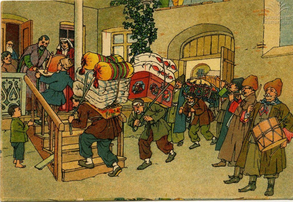 Բացիկ «Հին Թբիլիսի, օժիտ են տանում»։ Հեղինակ՝ Օսկար Շլեմինգ, 1928 թ. Ազգային գրադարանի արխիվ