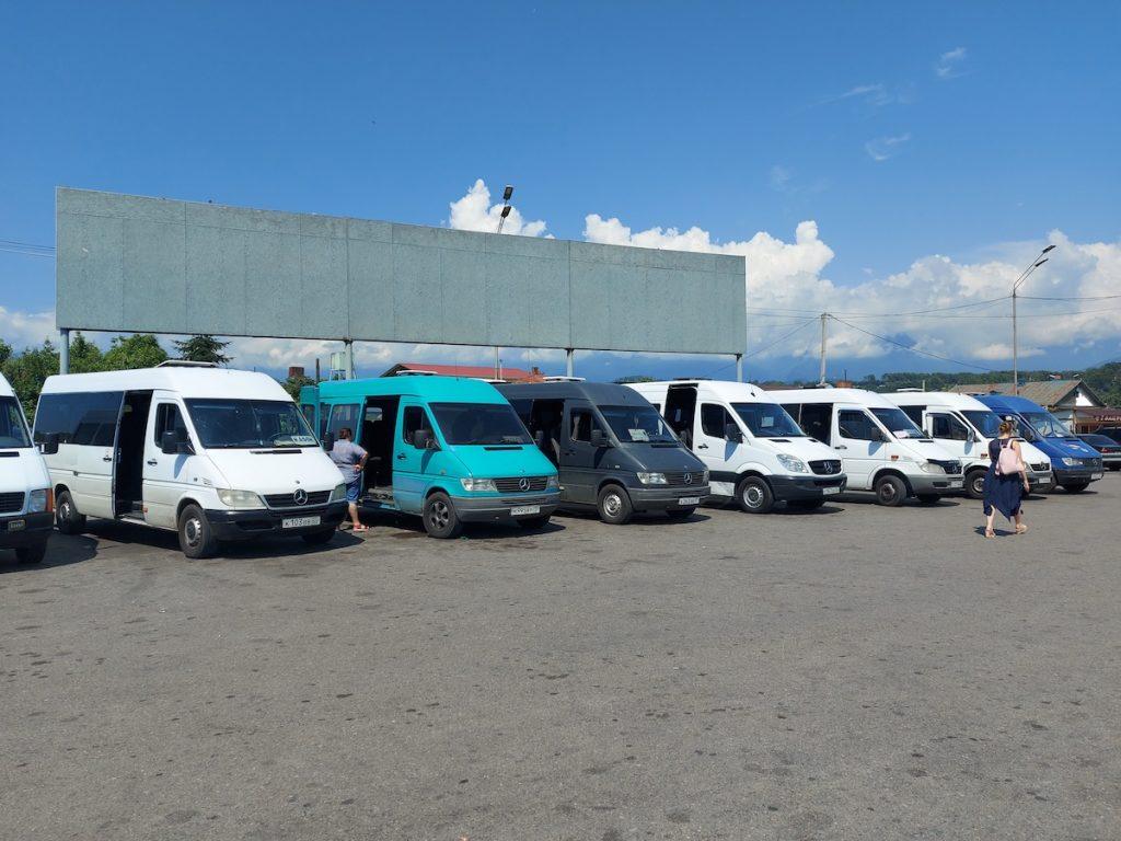 Old mini-buses, transport in Abkhazia