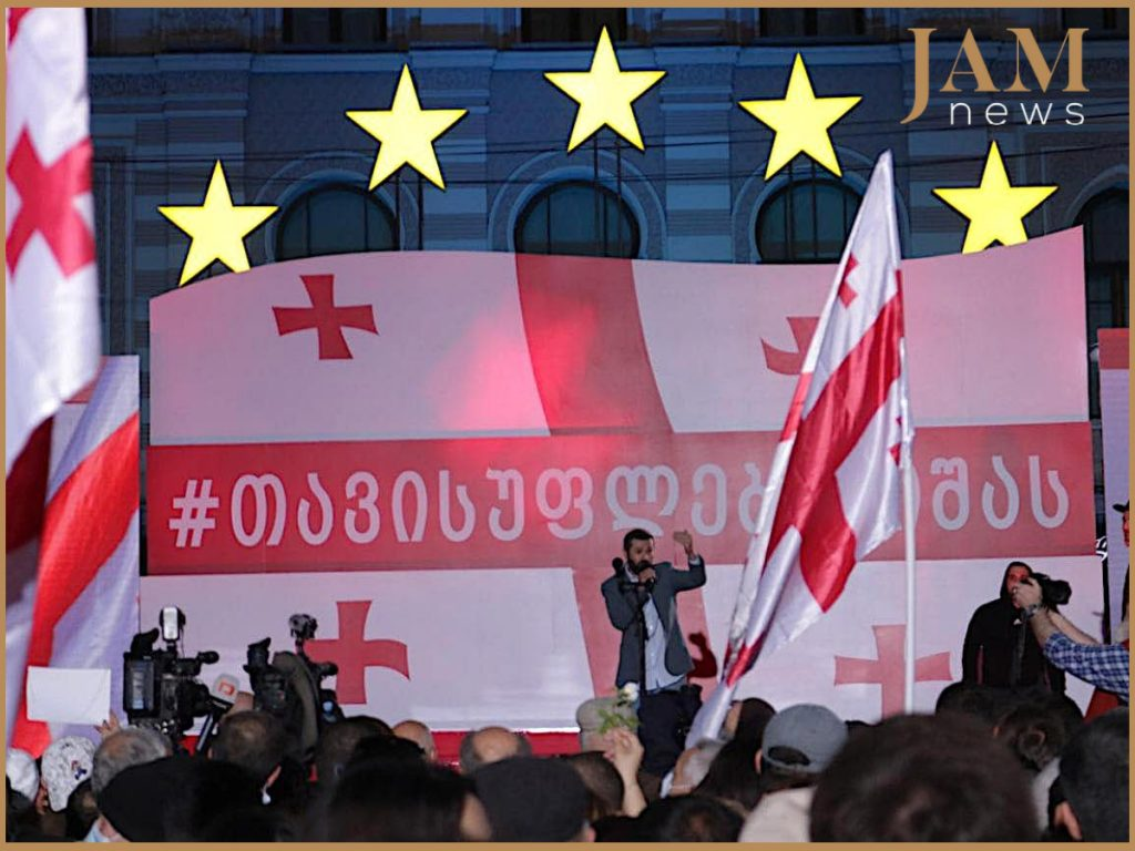 Митинг в Тбилиси за освобождение Саакашвили& Фото: JAMnews/Башир Китачаев